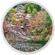 Fall Colors In Depth Round Beach Towel