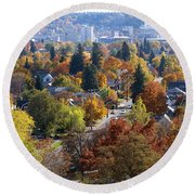 Fall Colors In Spokane From The Post Street Hill Round Beach Towel