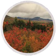 Fall Colors In White Mountains New Hampshire Round Beach Towel