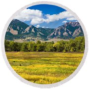 Fall Colors Of Boulder Colorado Round Beach Towel