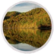 Fall Colors On Lake Reflection Round Beach Towel