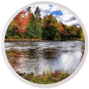 Fall Colors On The Moose River Round Beach Towel
