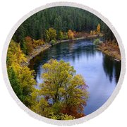 Fall Colors On The River Round Beach Towel