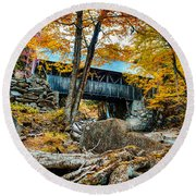 Fall Colors Over The Flume Gorge Covered Bridge Round Beach Towel