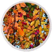 Fall Crab Apples Round Beach Towel