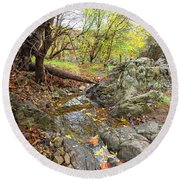 Fall Creek View Round Beach Towel
