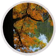 Fall Day At The Lake Round Beach Towel