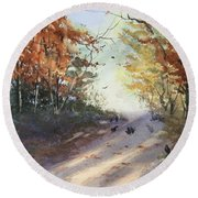 Fall Early Morning Round Beach Towel