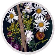 Fall Floral Collage Round Beach Towel