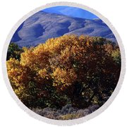 Fall Foliage And Hills, Carson City Round Beach Towel