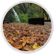 Fall Foliage At Horsetail Falls Round Beach Towel