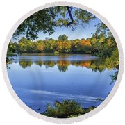 Fall Foliage At Turners Pond In Milton Massachusetts Round Beach Towel