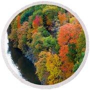 Fall Foliage In Hudson River 1 Round Beach Towel