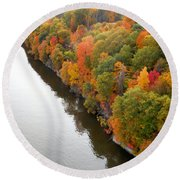 Fall Foliage In Hudson River 10 Round Beach Towel