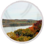 Fall Foliage In Hudson River 5 Round Beach Towel
