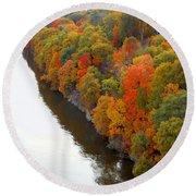 Fall Foliage In Hudson River 6 Round Beach Towel