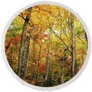 Fall Foliage On The Hike Up Mount Monadnock New Hampshire Round Beach Towel