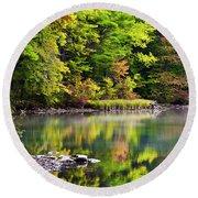 Fall Foliage Reflection Round Beach Towel