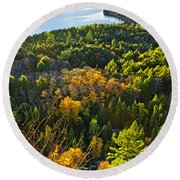 Fall Forest And Lake Top View Round Beach Towel