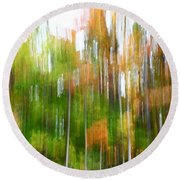 Fall Forest Colors Round Beach Towel