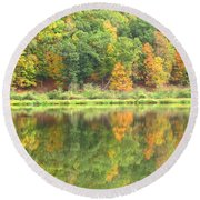 Fall Forest Reflection Round Beach Towel