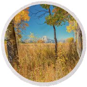Fall From Oxbow Bend In Grand Tetons Round Beach Towel