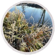Fall Frost On Grasses Along Nippersink Creek Round Beach Towel
