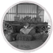 Fall Harvest Display Round Beach Towel