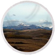 Fall Hills Rolling Towards The Mountains Round Beach Towel