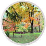 Fall In Brown County Round Beach Towel