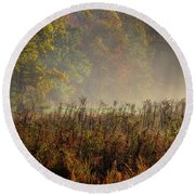 Fall In Cades Cove Round Beach Towel