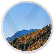 Fall In Gstaad Round Beach Towel