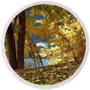 Fall In Kaloya Park 3 Round Beach Towel