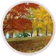 Fall In Kaloya Park 9 Round Beach Towel