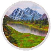 Fall In Mountains Landscape Oil Painting Round Beach Towel