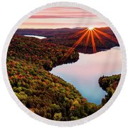 Fall In Northern Vermont Round Beach Towel