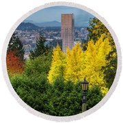 Fall In Portland Or Round Beach Towel