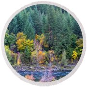 Fall In Spokane Round Beach Towel
