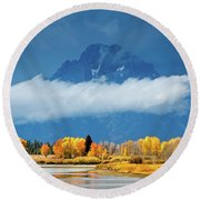 Fall At The Oxbow Round Beach Towel