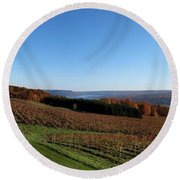 Fall In The Vineyards Round Beach Towel