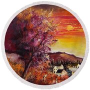 Fall In Villers Round Beach Towel