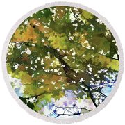 Fall In Woods Round Beach Towel