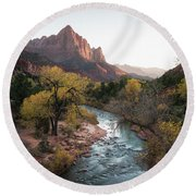 Fall In Zion National Park Round Beach Towel by James Udall