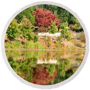 Fall Tree -loganville Georgia Round Beach Towel