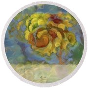 Fall Is In The Air Round Beach Towel
