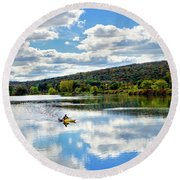 Fall Kayaking Reflection Landscape Round Beach Towel