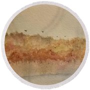 Fall Lake Round Beach Towel