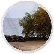 Fall Lake Tree Round Beach Towel