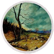 Fall Landscape 56 Round Beach Towel