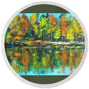 Fall Landscape Acrylic Painting Framed Round Beach Towel